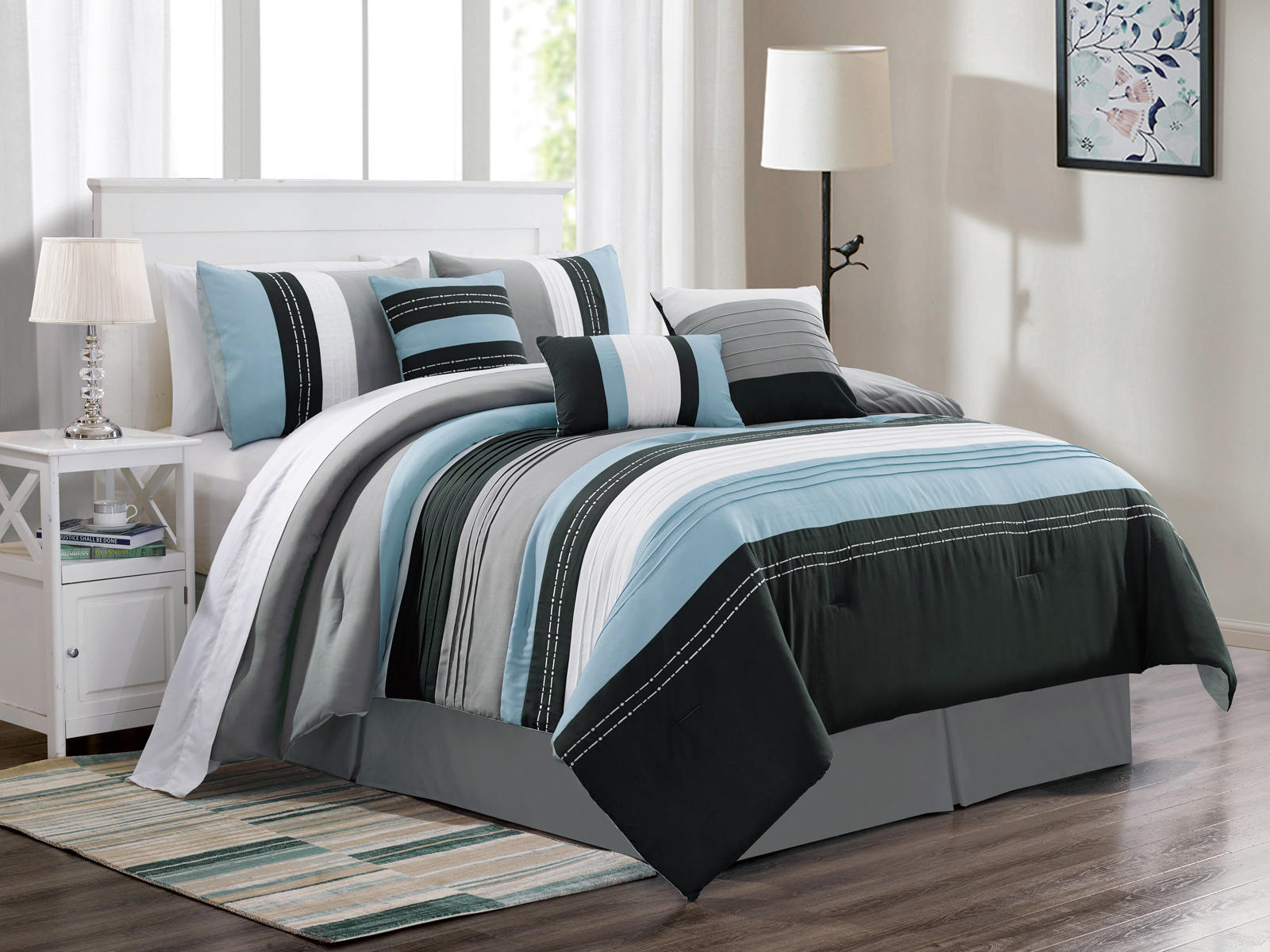 7 Pc Jordan Embroidery Pleated Stripe Comforter Set Blue White Black Gray Queen 655881350913 Ebay