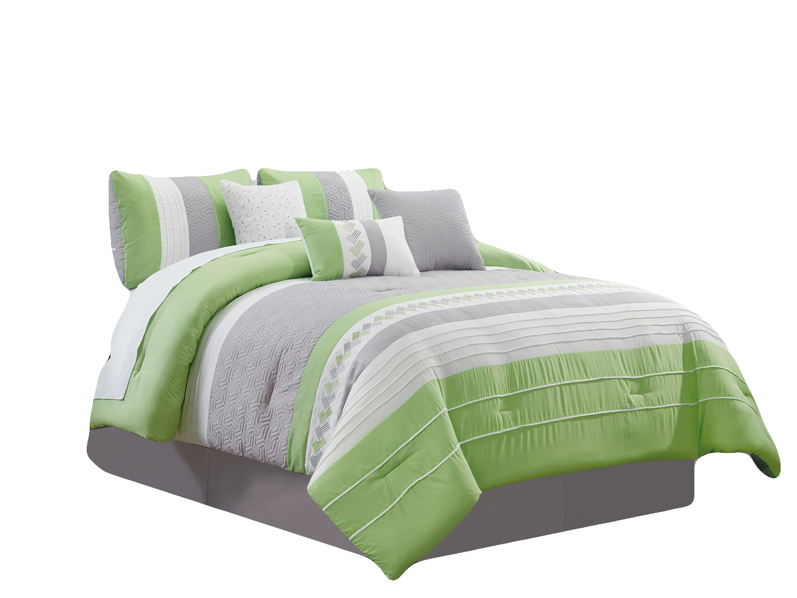 7 Pc Knoton Embossed Geometric Cube Lines Embroidery Pleated Comforter Set Lime Green Gray Off White Queen