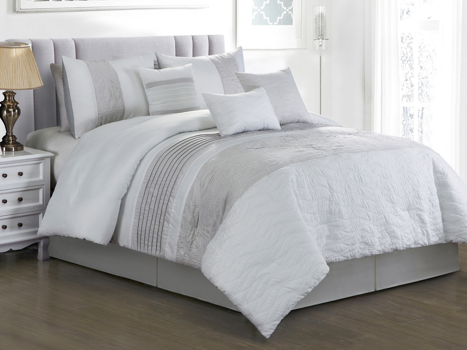 7 Pc Keani Quilted Abstract Wavy Lines Embroidery Comforter Set White Gray Queen 655881354379 Ebay