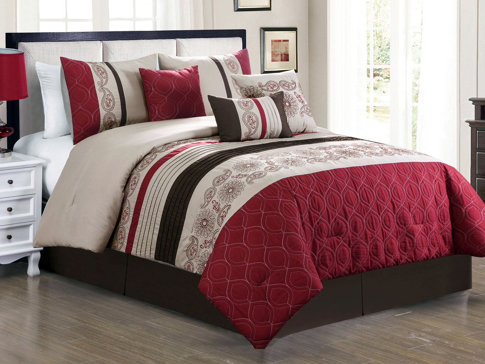 Bedding Quilt Queen Size 3 Pc Embroidered Bed Set Bedspread Burgundy Home Garden Mbln Org