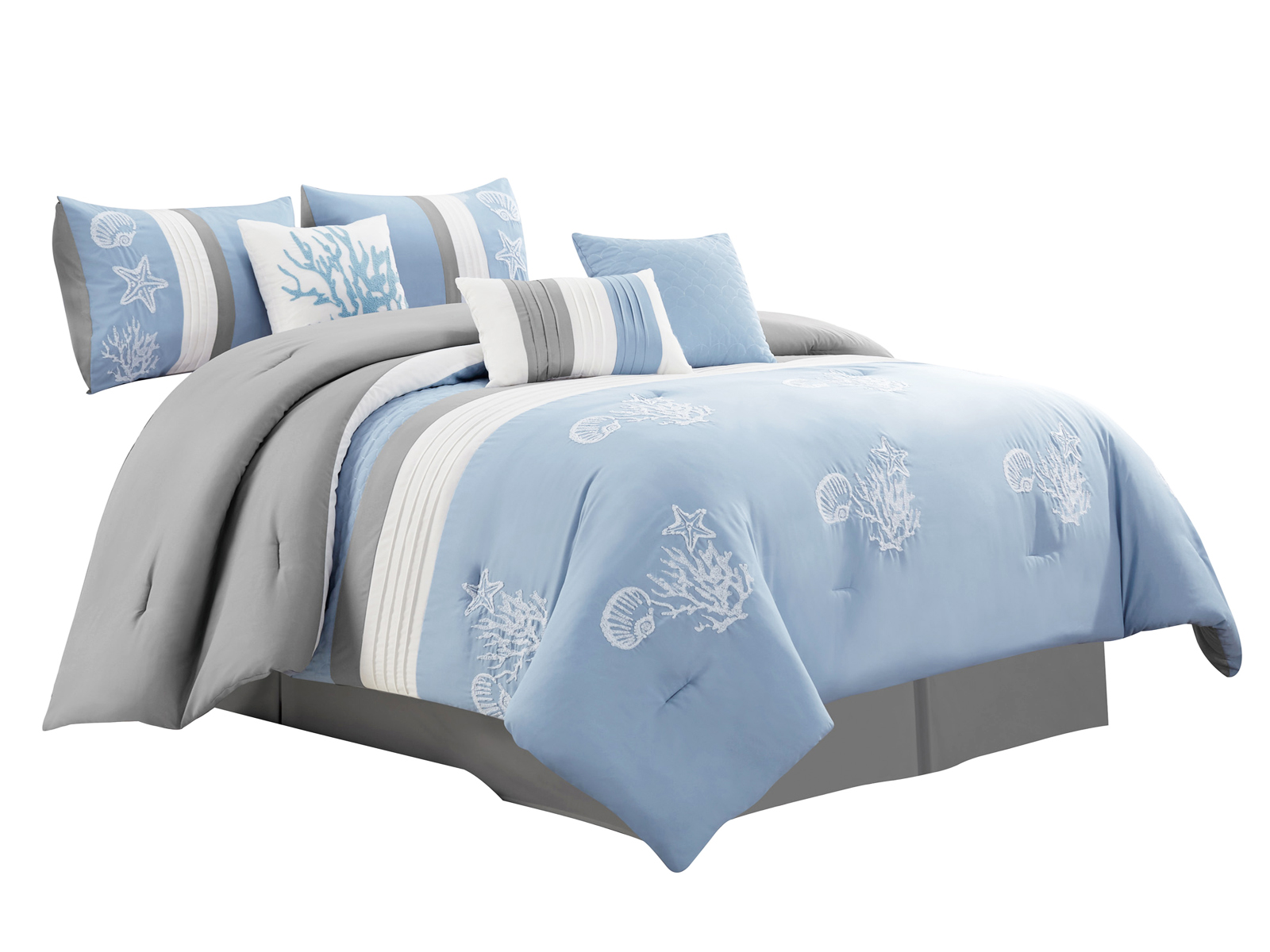 Queen King Bed Blue Brown Coral Seashells Embroidered 7 pc Comforter Set Bedding