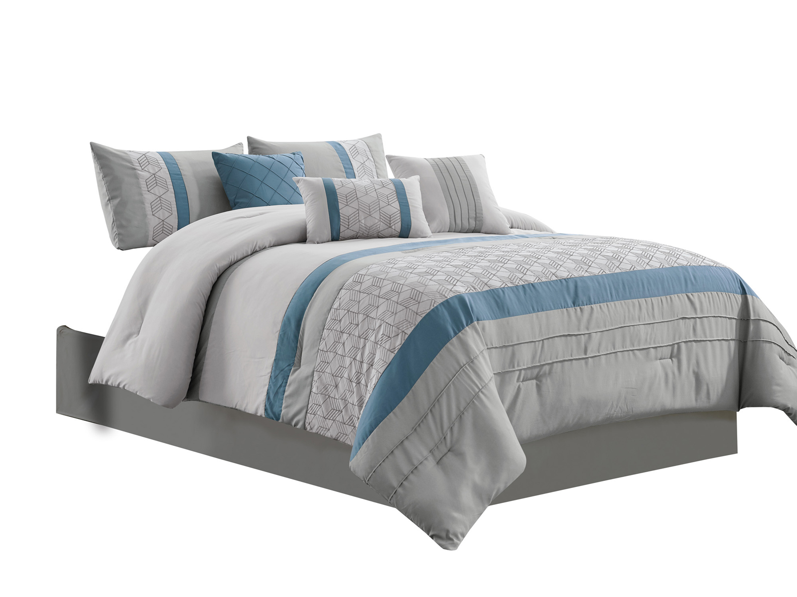 Details About 7 Pc Oliver Comforter Setdiamond Cube Chevron Geometricblue Gray Silverqueen