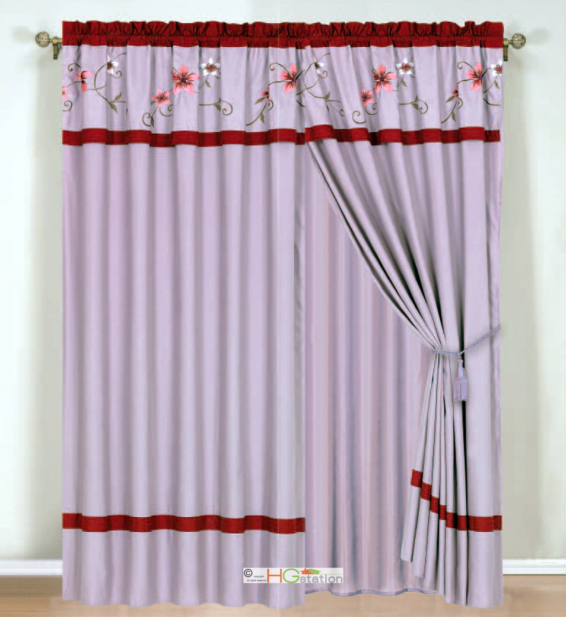 4Pc Periwrinkle Floral Embroidery Curtain Set Lilac