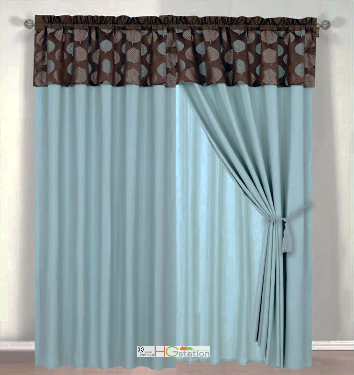 4pc Tropical Palm Leaf Jacquard Curtain Set Slate Blue Brown Valance Drape Liner Ebay