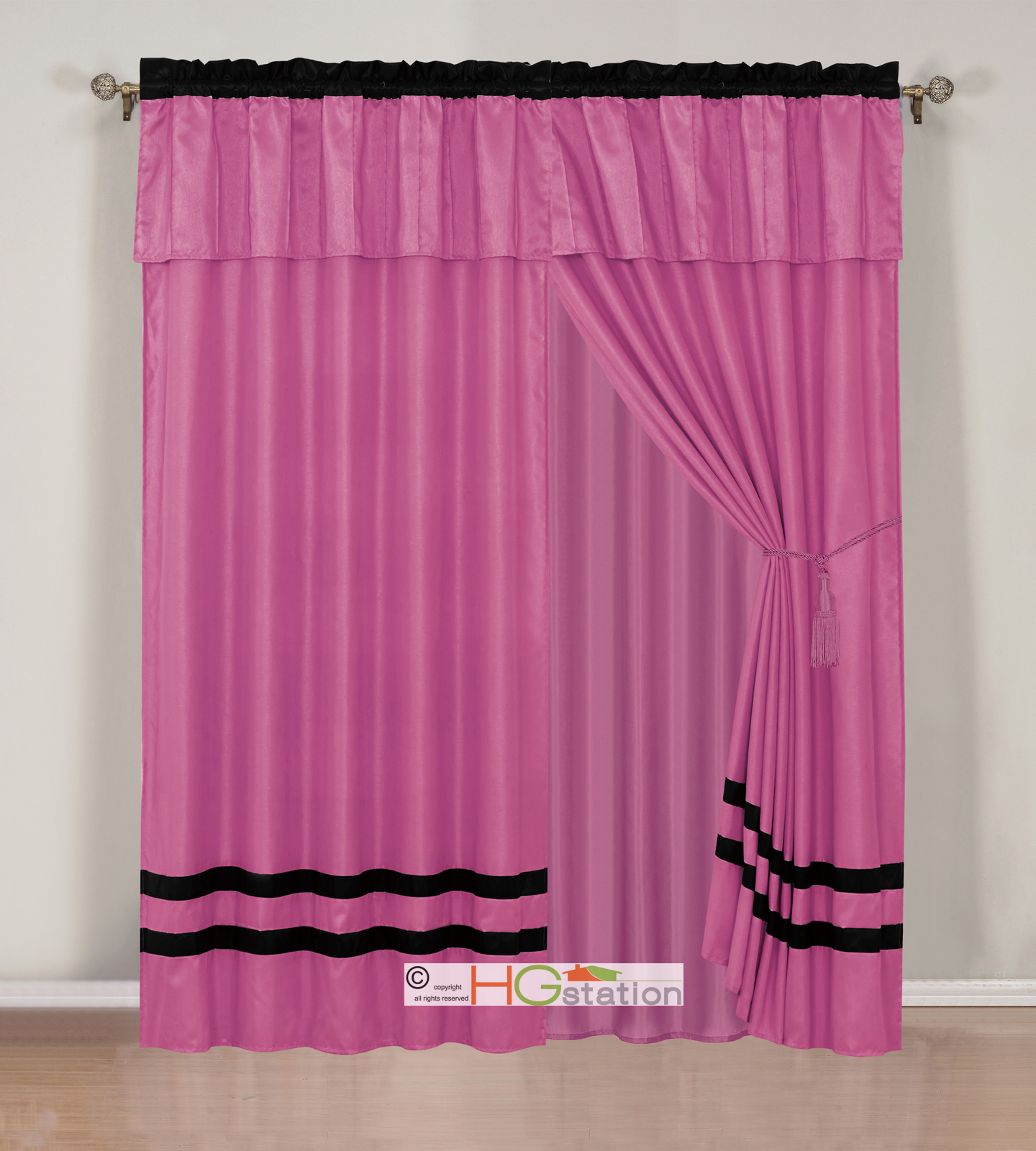 4 chic sleek stripe solid curtain set pleated valance for Plain pink shower curtain