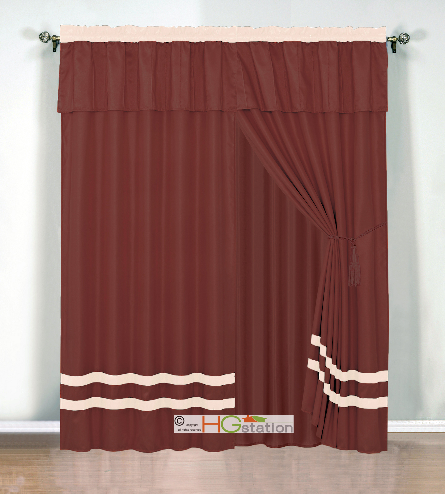 4 Pc Chic Stripe Solid Curtain Set Pleated Valance Drape Rust Orange Beige Ivory Ebay