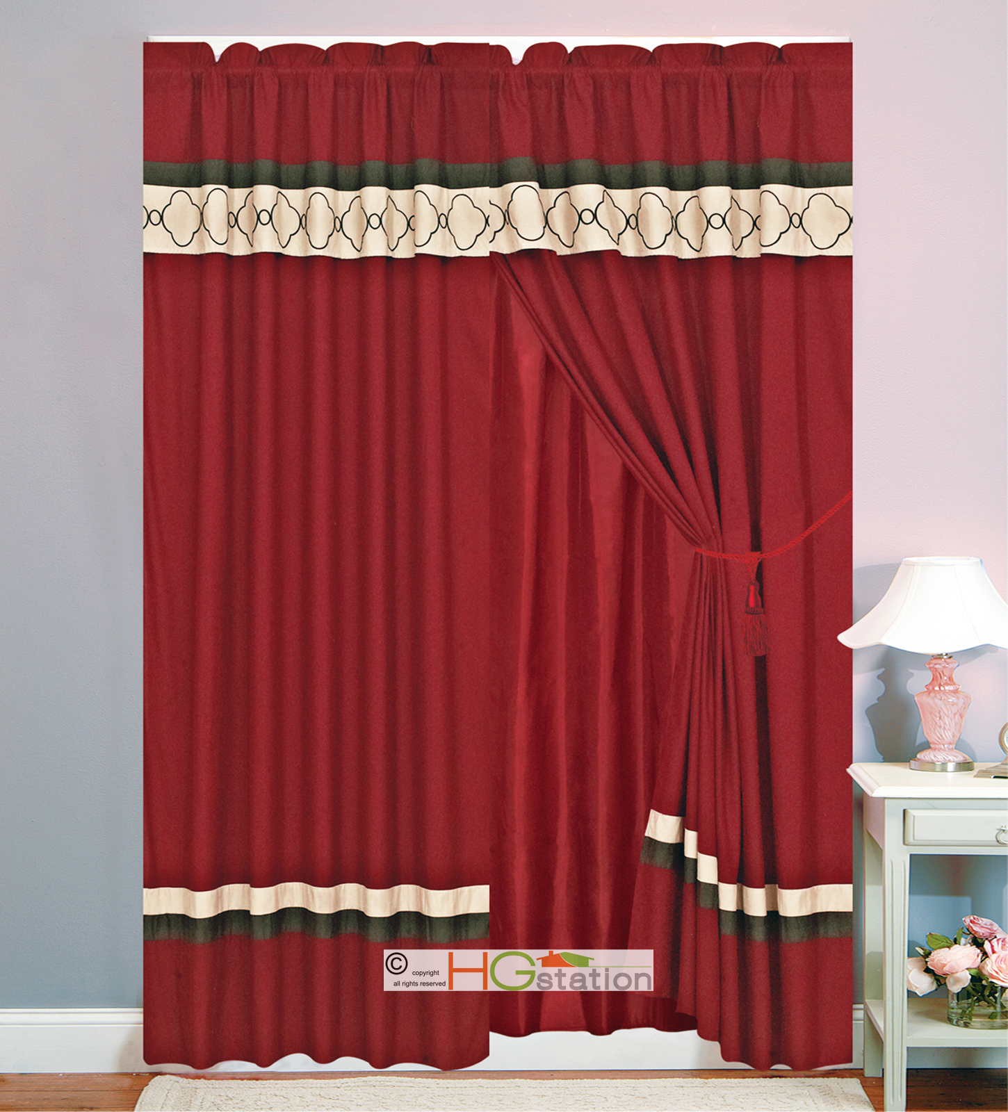 Hg Station 4 Pc Embroidered Casablanca Trellis Moroccan Striped Curtain Set Burgundy Red Brown Tan