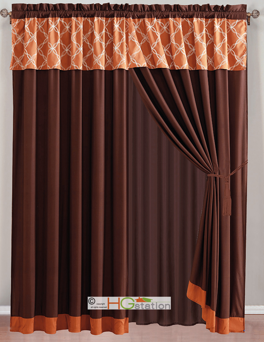 4 pc coleen intertwining lines embroidery curtain set rust orange brown valance 617237892478 ebay. Black Bedroom Furniture Sets. Home Design Ideas