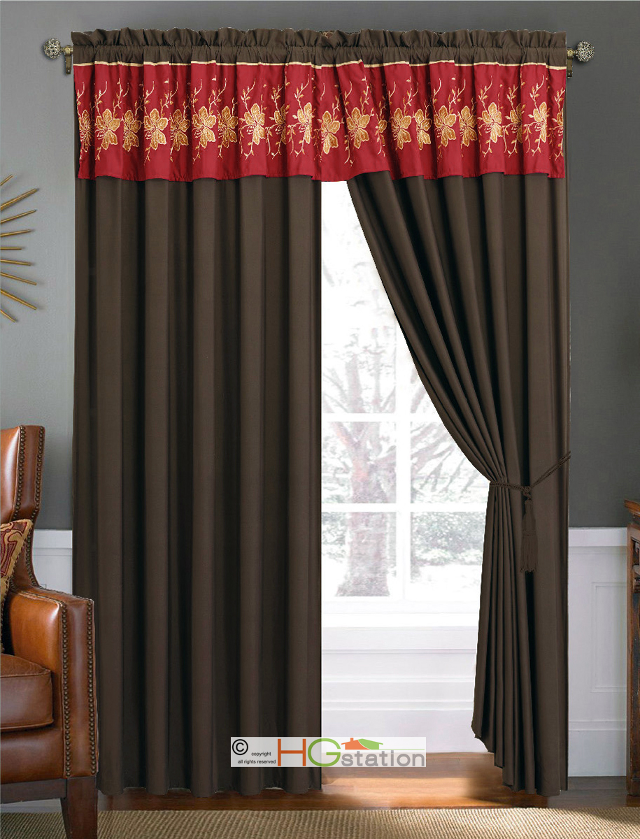 4 Pc Gold Floral Motif Embroidery Curtain Set Burgundy