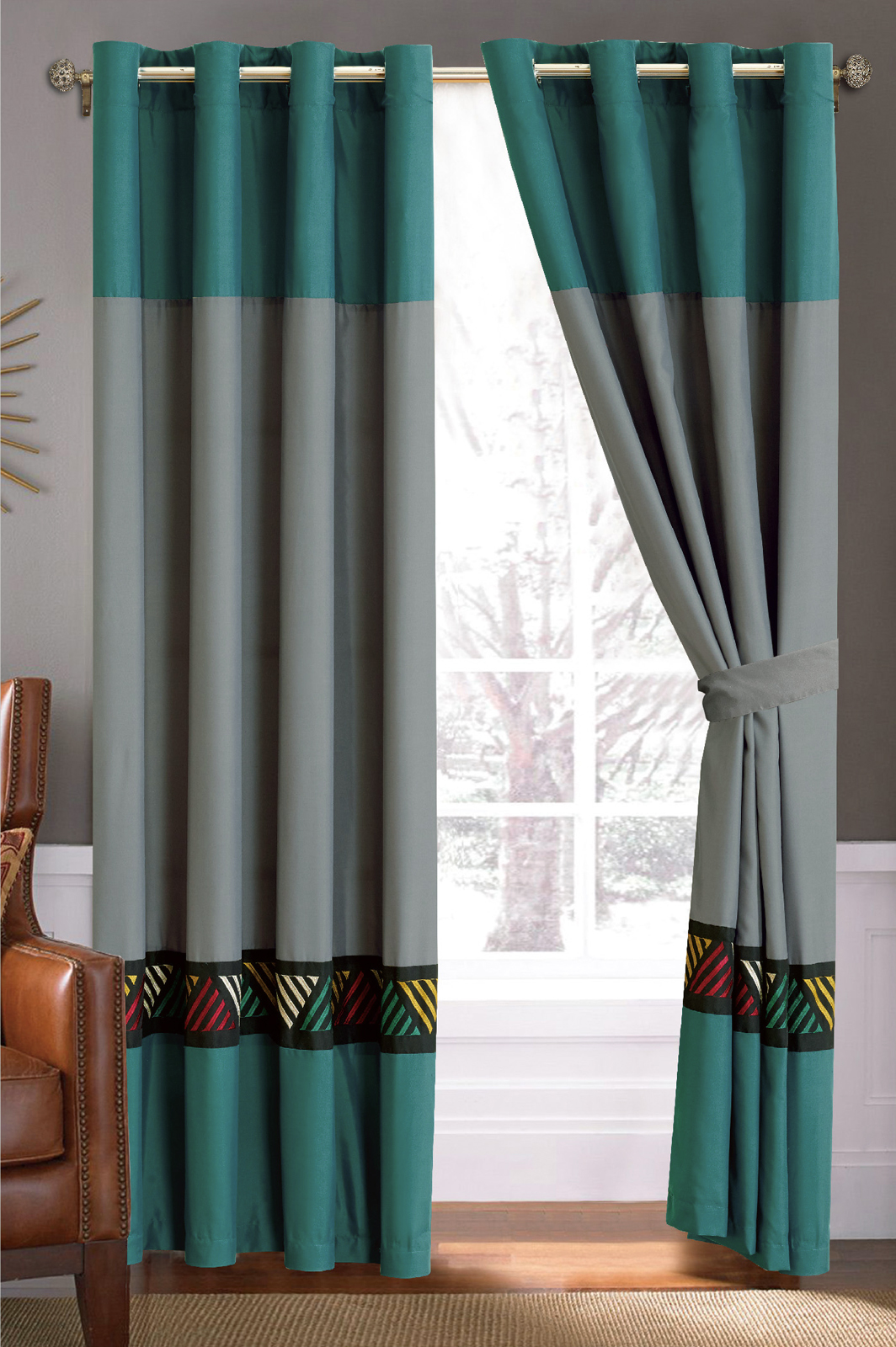 Teal Blur Sheer Curtains Living Room Decorations: 4-Pc Chic Southwest Triangle Embroidery Curtain Set Gray