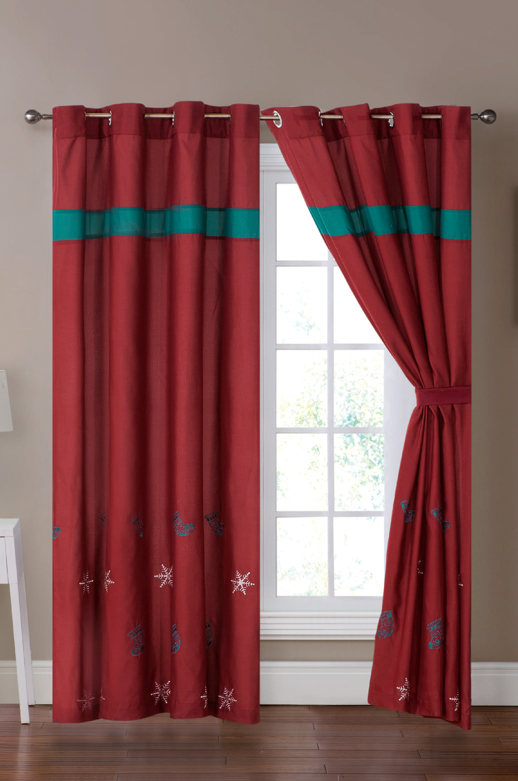 Teal Blur Sheer Curtains Living Room Decorations: 4-P Xmas Stocking Snowflake Embroidery Curtain Set