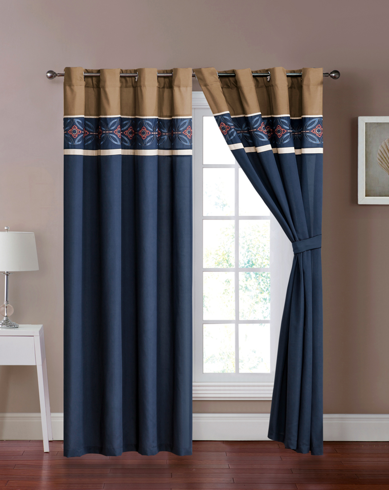 4 Pc Maury Floral Medallion Embroidery Curtain Set Blue