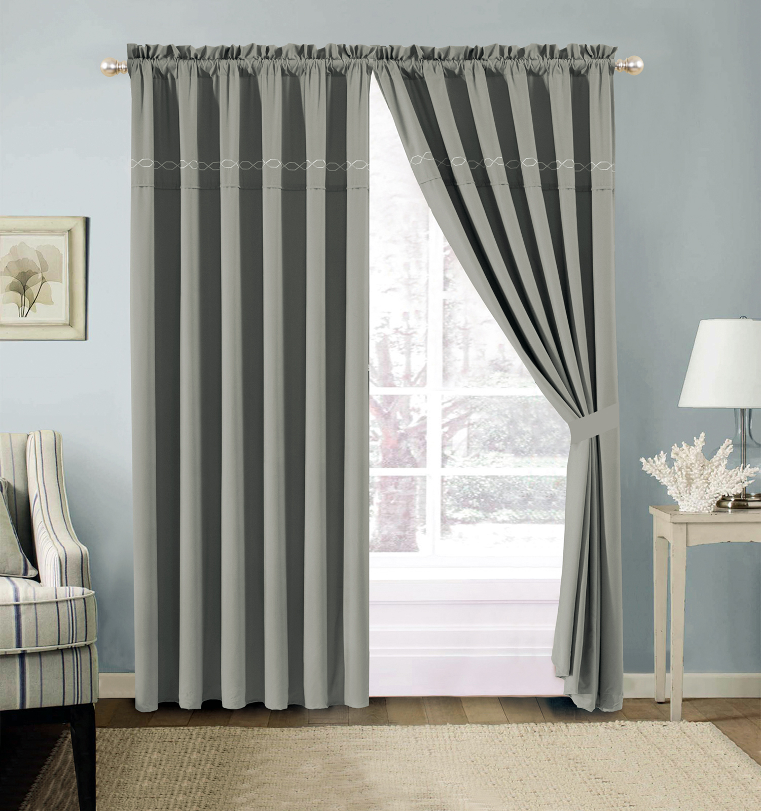 4-Pc Hoku Modern Hexagonal Embroidery Curtain Set Solid
