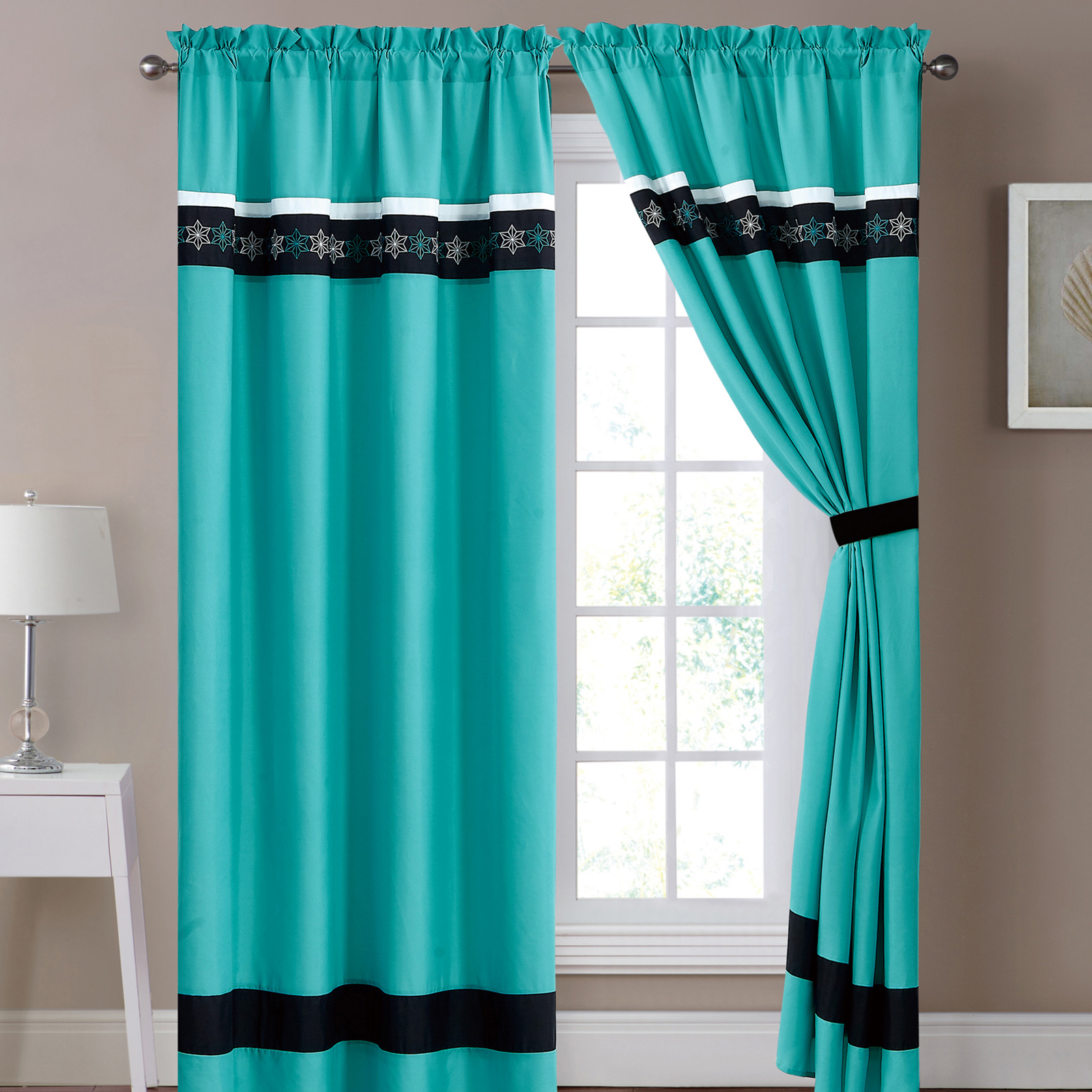 4-Pc Heike Star Hexagram Snowflake Curtain Set Turquoise