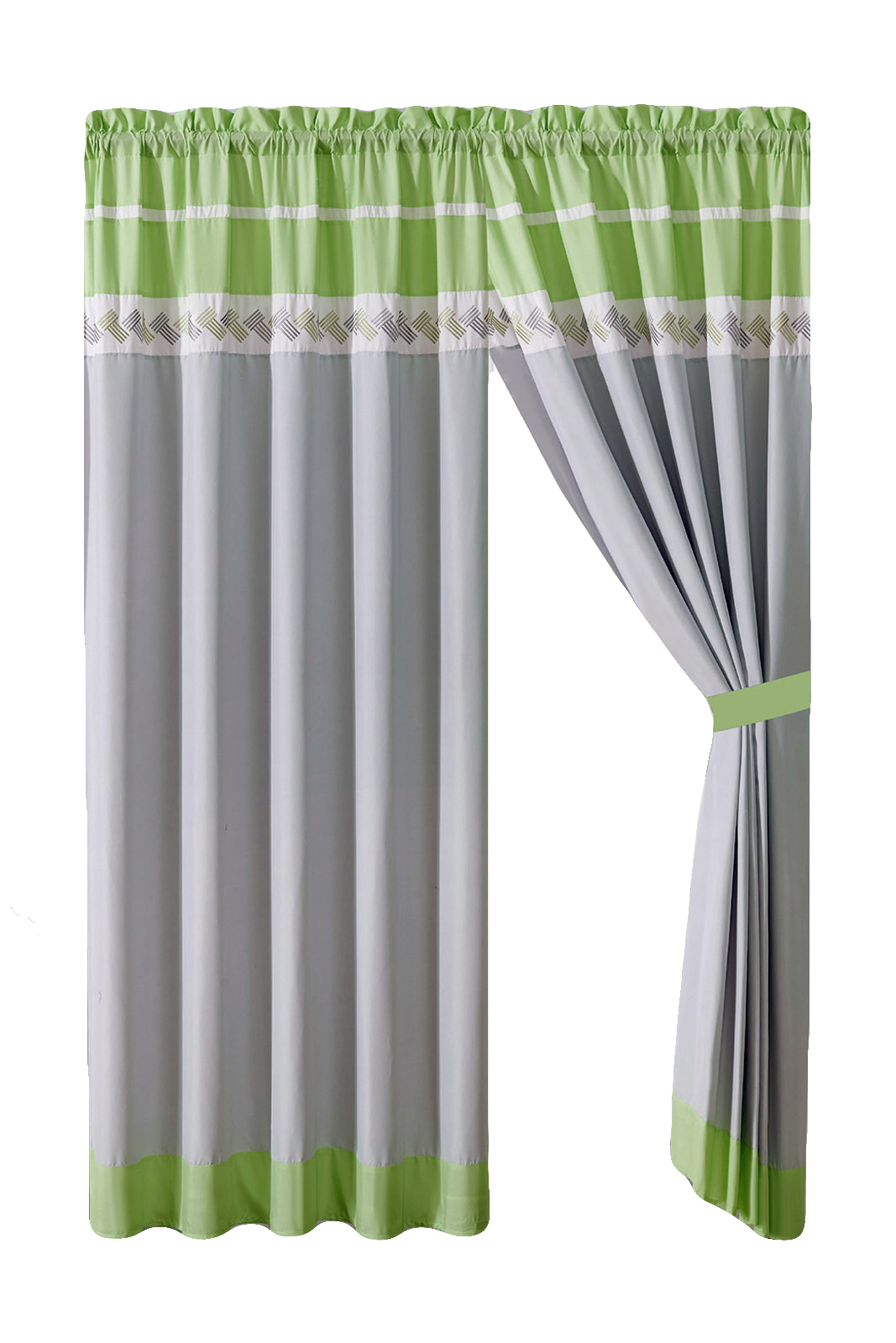 4 Pc Knoton Lines Stripe Embroidery Curtain Set Lime Green Gray Off White Valance Sheer Liner Drape