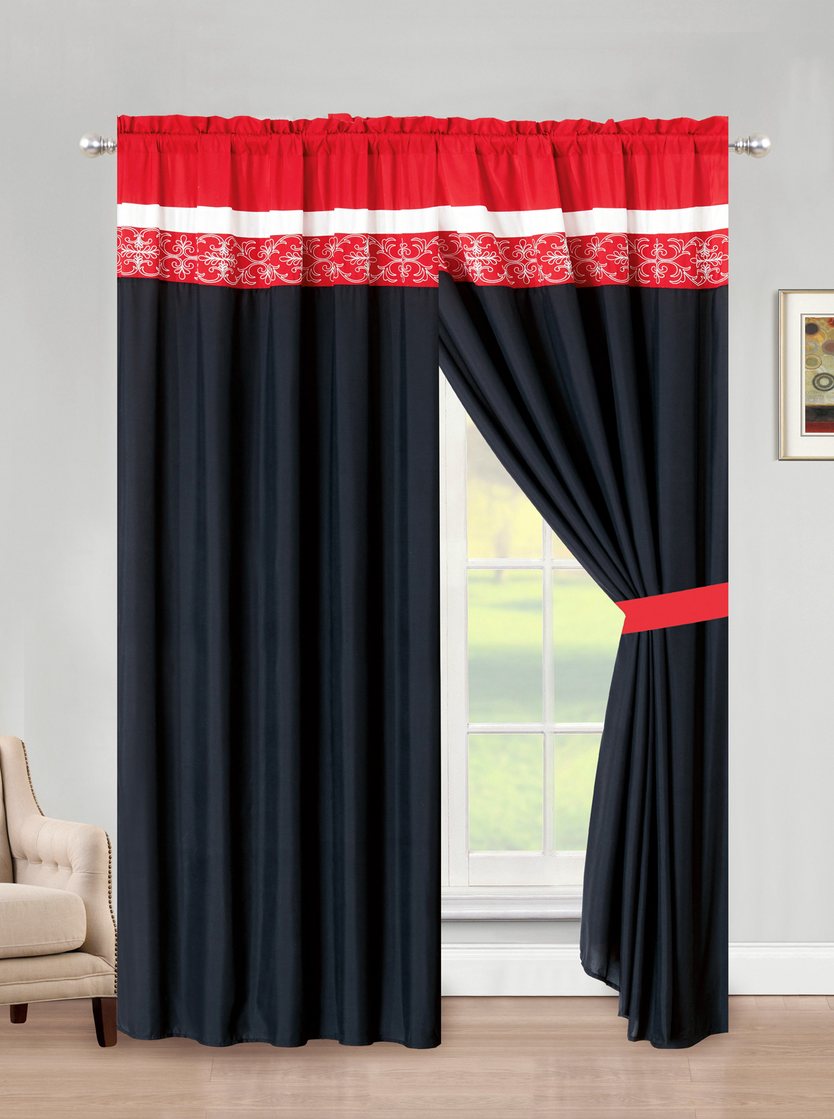 4 Pc Preston Royal Damask Floral Scroll Curtain Set Red Black White Sheer Drape Ebay