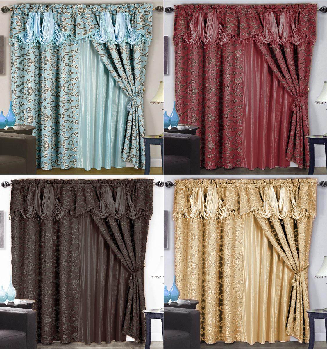 Details About 4 Pc Luxurious Satin Jacquard Damask Curtain Set Waterfall Valance Lining Tassel